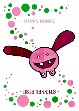 happy-bunny---stunned-fish-pink-green-dots