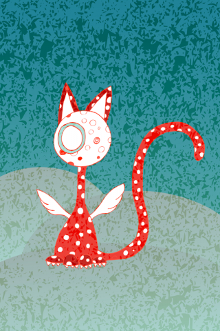 Polka-dotted winged cats available red, aquamarine and beigeish - posters and iphonecases.