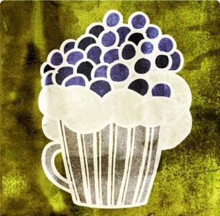 Blueberry Mug. Limited edition pigment ink miniprint (8x8cm, ed.50).