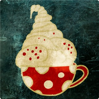 Creamy Goodiness with Red Nonpareil. Limited edition pigment ink miniprint (8x8cm, ed.50).