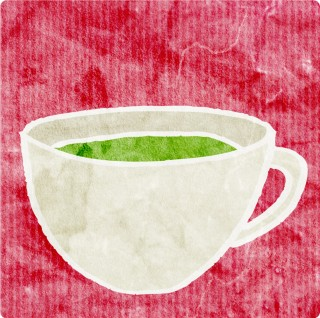 Green Tea in Sweet Surroundings. Limited edition pigment ink miniprint (8x8cm, ed.50).
