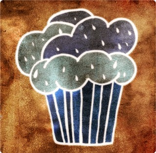Rainy Day Cupcake. Limited edition pigment ink miniprint (8x8cm, ed.50).
