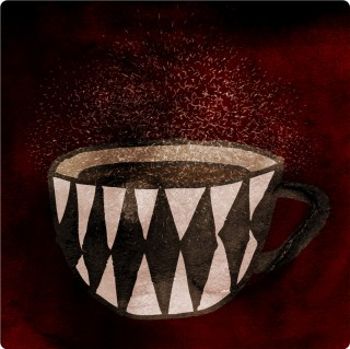 Sparkling Coffee (Dark Roasted). Limited edition pigment ink miniprint (8x8cm, ed.50).