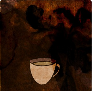 Tiny, Humble Coffee with Milk. Limited edition pigment ink miniprint (8x8cm, ed.50).