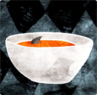 Tomato Soup with Turmeric and A Shark. Limited edition pigment ink miniprint (8x8cm, ed.50).