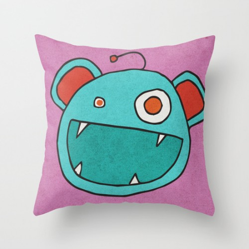 Slightly Amused Monsters, III Aquamarine pillow