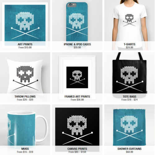 Knitting with Attitude at my Society6 Kuvituksia Shop